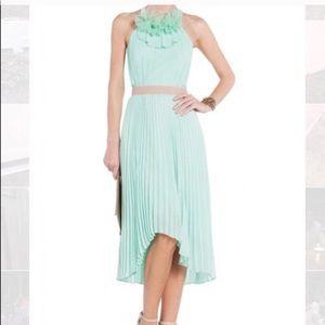 BCBG Opaline Mint Green Hi Lo Pleated Ruffle Dress